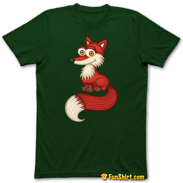 Tshirt Tee Shirt Cute Little Red Fox With Bushy Tail Wood Hiking