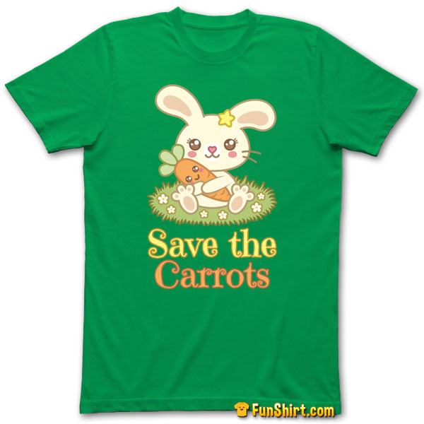 Tshirt Tee Shirt Kawaii Bunny Hugging A Cute Carrot