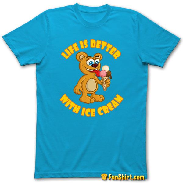 Tshirt Tee Shirt Funny Teddy With Ice Cream Cone and Summer Saying
