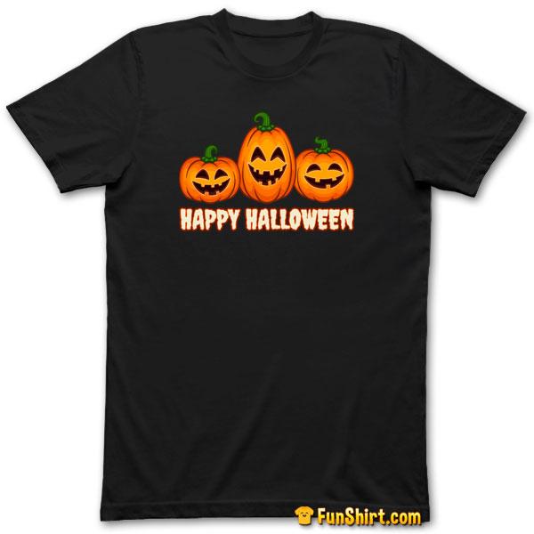 Tshirt Tee Shirt Happy Halloween Pumpkin Funny Jack O' Lantern