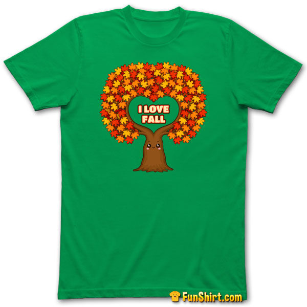 Tshirt Tee Shirt I Love Fall Maple Tree Indian Summer